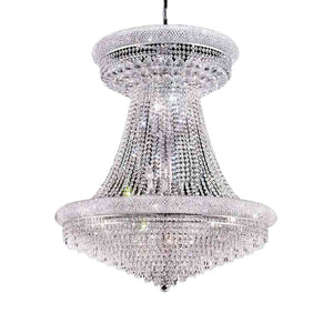 European Modern French Empire Gold Large Crystal Chandelier
