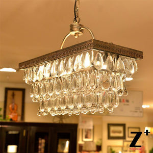 American Style Country  Vintage Crystal Rectangular Chandelier