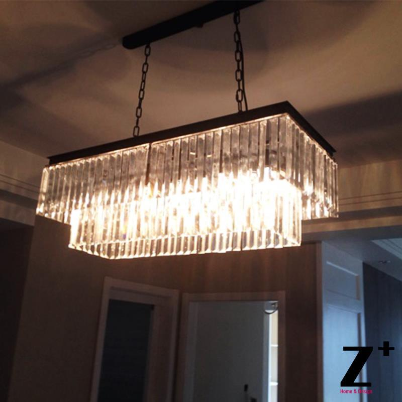 Contemporary Vintage Clear Glass Fringe Rectangular Crystal Chandelier