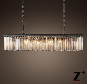 Contemporary Vintage Rectangular Crystal Chandelier