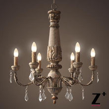 Load image into Gallery viewer, American style vintage wood made crystal traditional chandelier