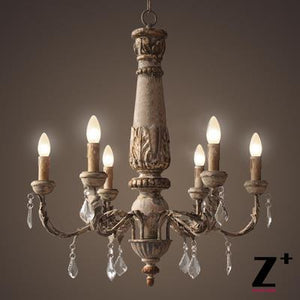 American style vintage wood made crystal traditional chandelier