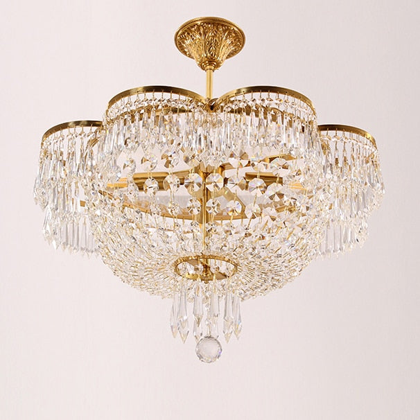 100% Brass Crystal European French Copper Chandeliers