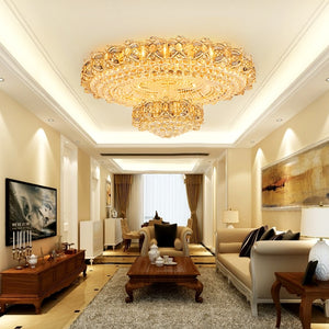 European Style Modern Crystal Round Gold Ceiling Chandeliers