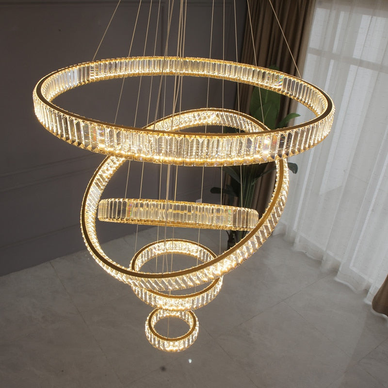 Crystal Staircase Luxury Modern Chandelier