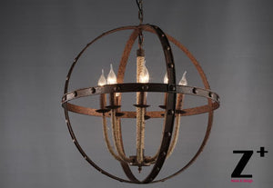 American Style Rust Iron Traditional Chandelier
