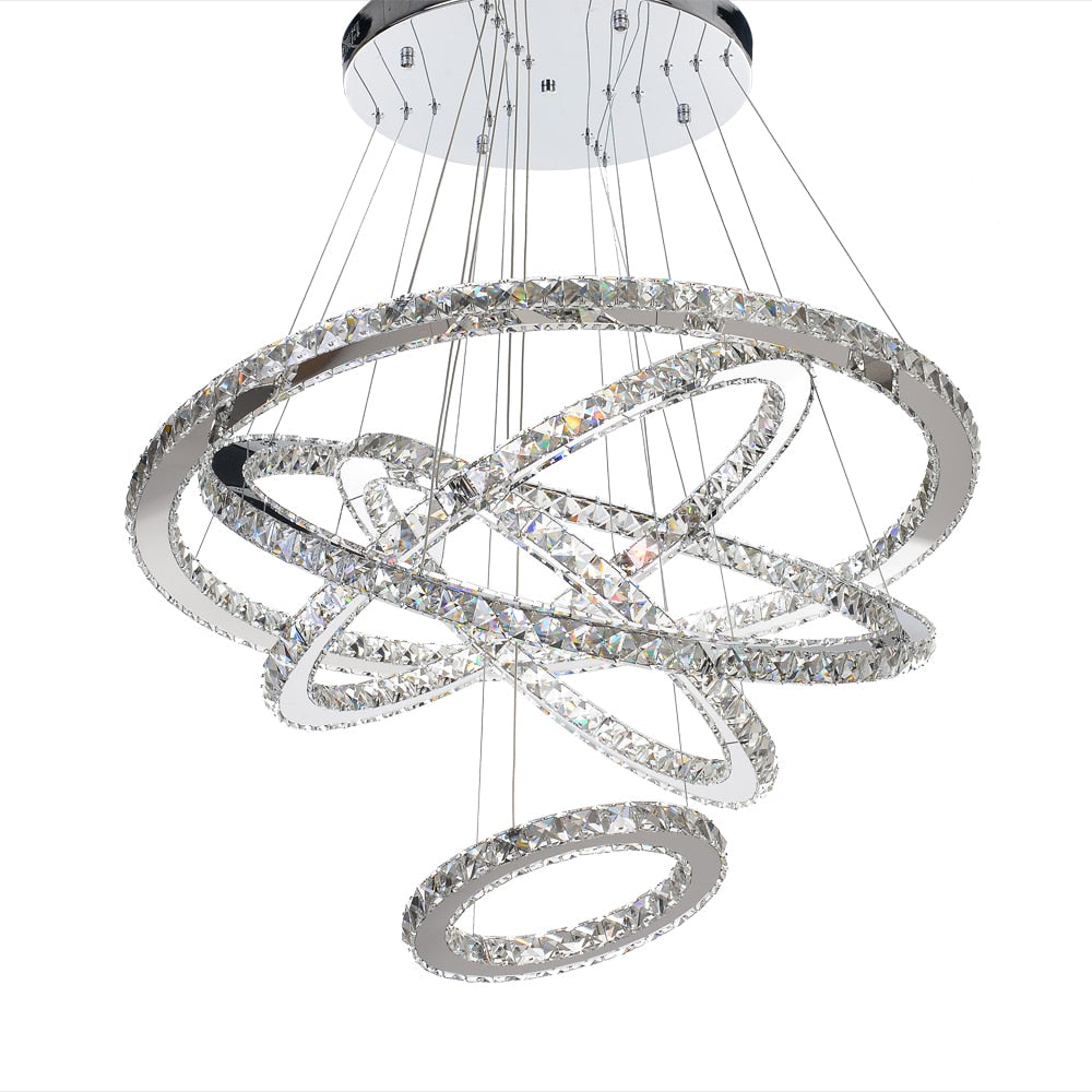 MEEROSEE Modern LED Chandelier Crystal Rings Hanging Lamp 5 Circle