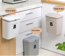 Carica l'immagine nel visualizzatore di Gallery, Wall Mounted Kitchen Cabinet Door Hanging Door Mounted Plastic Trash Can with Lid Sliding Cover Under Sink Door Counter Food Waste Bin Garbage Can