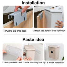 Load image into Gallery viewer, Wall Mounted Kitchen Cabinet Door Hanging Door Mounted Plastic Trash Can with Lid Sliding Cover Under Sink Door Counter Food Waste Bin Garbage Can