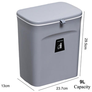 Wall Mounted Kitchen Cabinet Door Hanging Door Mounted Plastic Trash Can with Lid Sliding Cover Under Sink Door Counter Food Waste Bin Garbage Can