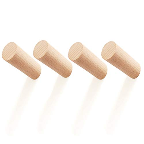 8CM Natural Solid Wooden Cylinder Column Wood Hook