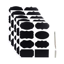 Load image into Gallery viewer, Chalkboard Labels Kit 40x PVC Black Stickers 1x White Liquid Chalk Marker Pen Removable Erasable Entirely Customizable Perfect for Jam Jars Beer Wine