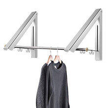 Load image into Gallery viewer, Retractable Hidden Aluminum Folding Wall Mounted Clothes Hanger Drying Rack Hanging Coat Shirt Pants Space Saving Storage Dryer Organiser Laundry Bathroom Utility Bedroom Wardrobe Balcony