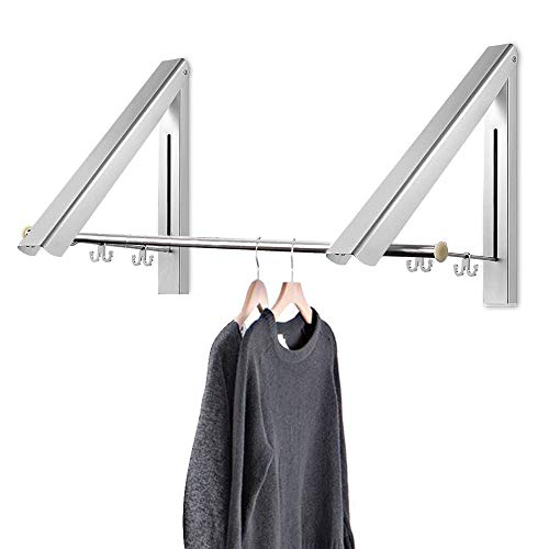 Retractable Hidden Aluminum Folding Wall Mounted Clothes Hanger Drying Rack Hanging Coat Shirt Pants Space Saving Storage Dryer Organiser Laundry Bathroom Utility Bedroom Wardrobe Balcony