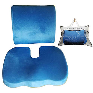 Memory Foam Seat Cushion Back Lumbar Support Therapeutic Orthopaedic Pain Ergonomic Prevent Lower Sciatica Disc Coccyx Tailbone Stress-freeChairs Seat Improve Posture Instant Relief Recliner