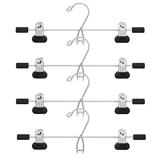 4PCS Trouser hangers Skirt hangers with adjustment metal grip Clips pant hangers for heavy duty durable space saving Closet Hanger Multi-layer Skirt