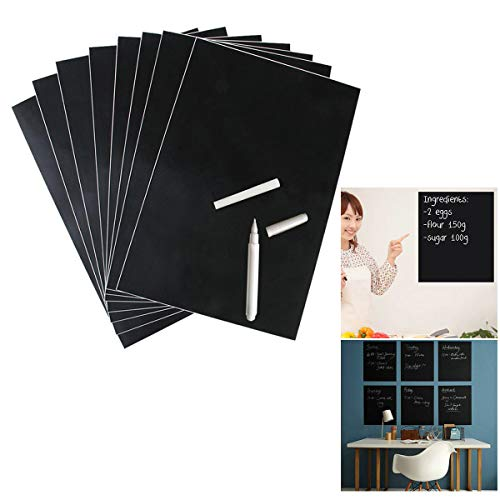 Unframed Blackboard chalkboard Sticker Black Adhesive Flexible Wall Sticker Removable Writing Erasing A4 8PCS Office Notice Memo Tabletop Menu Chalk