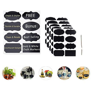 Chalkboard Labels Kit 40x PVC Black Stickers 1x White Liquid Chalk Marker Pen Removable Erasable Entirely Customizable Perfect for Jam Jars Beer Wine