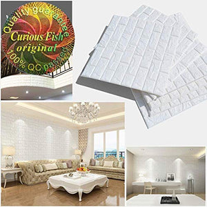3D Brick Wallpaper 5PC Self-Adhesive Wall Stickers Waterproof Wall Panel Ceramic Soft PE Foam Fodable Cutable DIY Wall Decorate for TV Background Kitchen Bathroom Kids' Living Room