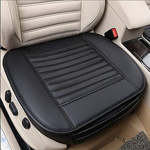 Universal Car Inner Covers Seat pad PU Leather Bambu charcoal Front Seat Natural Breathable Comfort Seat Health protection Foldable Cozy Mat Elegance Upholstery Edge