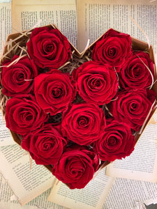 12 Everlasting Red Roses in Heart-Shaped Box