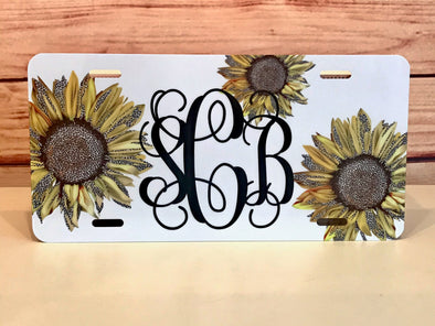 Monogrammed Leopard Sunflower Cartag Front License Plate
