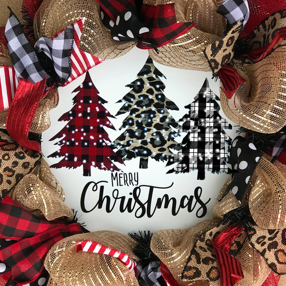 Three Trees Merry Christmas Circle Wreath Sign
