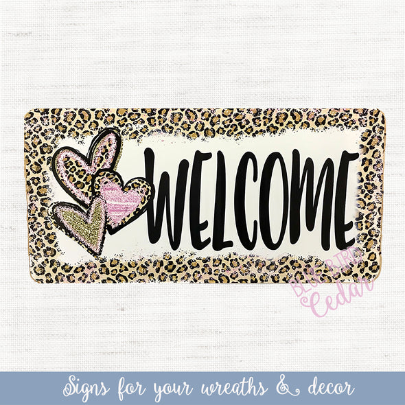 Leopard Valentine's Day Wreath Sign
