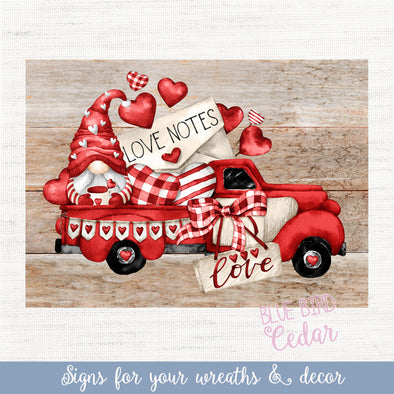 Valentine's Truck Rectangle Sign for Decor, Tiered Trays, Wreaths