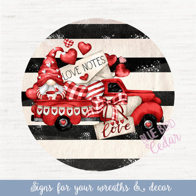 Valentine's Truck with Stripes Circle Sign