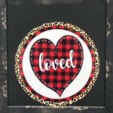 Valentine's Loved Leopard and Buffalo Plaid Circle Wreath Sign