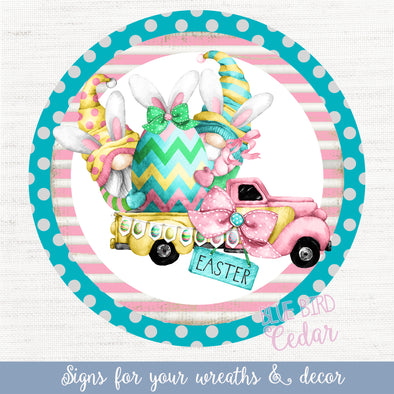 Easter Truck Circle Sign for Wreaths and Home Decor