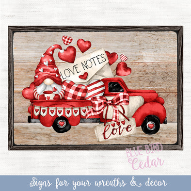 Valentine's Day Truck with Faux Frame Rectangle Sign for Decor, Tiered Trays, Wreaths