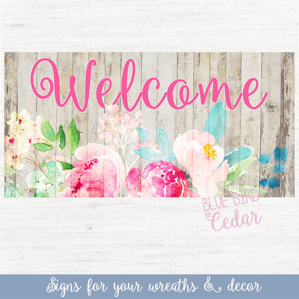 Welcome Flower Sign for Wreaths & Home Decor