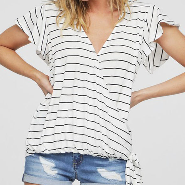 **SMALL** Stripe Wrap Top
