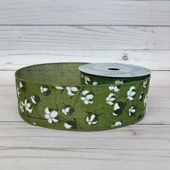 Cotton Print on Moss Color Linen Wired Ribbon
