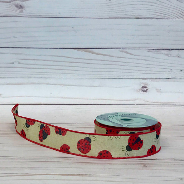 Ladybug Wired Ribbon with Natural Burlap Background