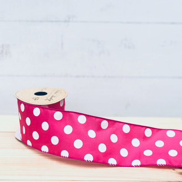 Bright Pink with White Polka Dots Ribbon