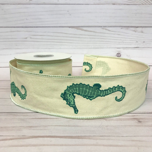 Seahorse Print on a Natural Color Background Wired Ribbon