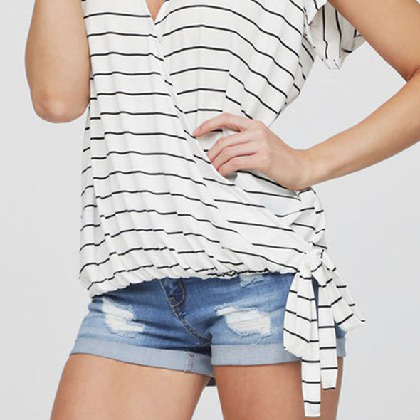 **MEDIUM** Stripe Wrap Top