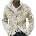 Casual Knitted Stand Collar Solid Sweater