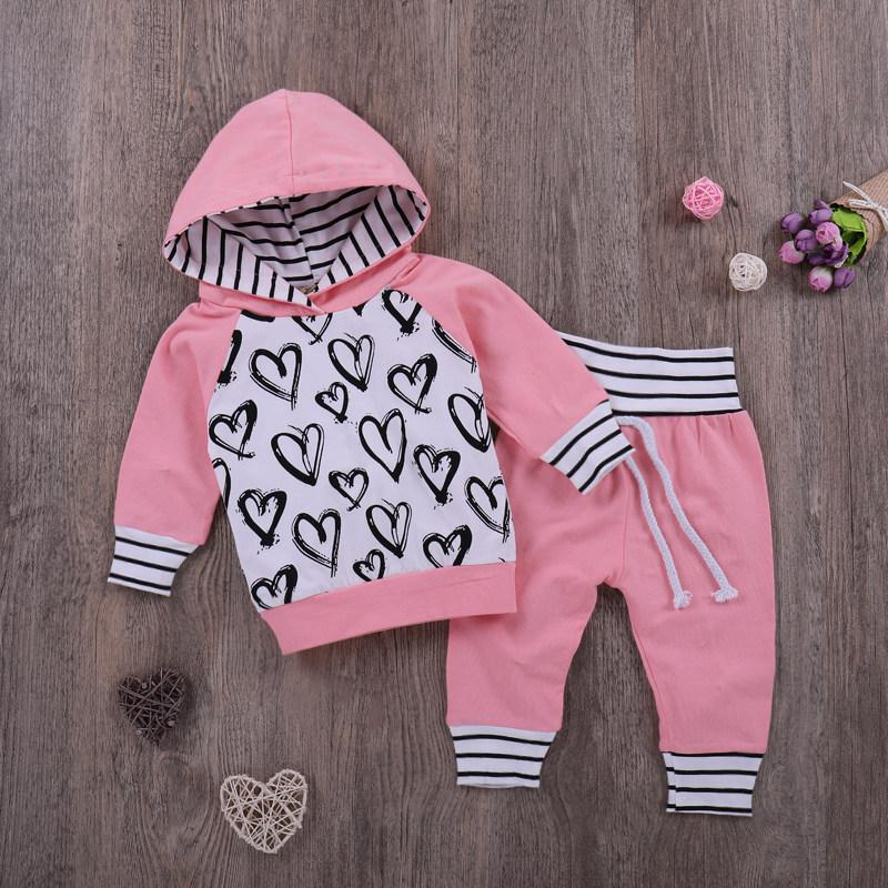 2-piece Children Sweatshirts Pants Sets Girls Hooded Pink Baby Sets - childbling