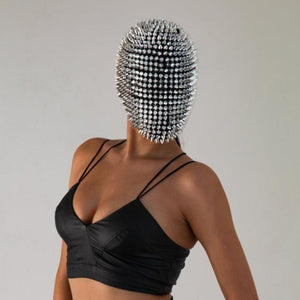 Studded Spikes Full Face Jewel Margiela Mask (Halloween, EDM, Cosplay, Rave, Party, Movie)