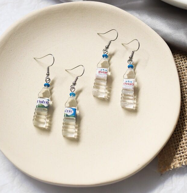 Sterling silver Bohemian Water Bottle Pendant Earrings Drop