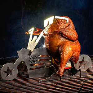 Portable chicken stand Beer- American motorcycle BBQ