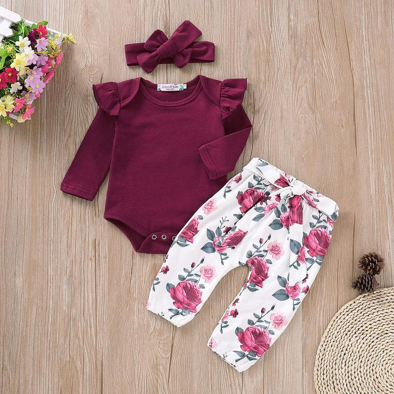 3-piece Burgundy Ruffle Bodysuit, Floral Pants and Headband Set - childbling