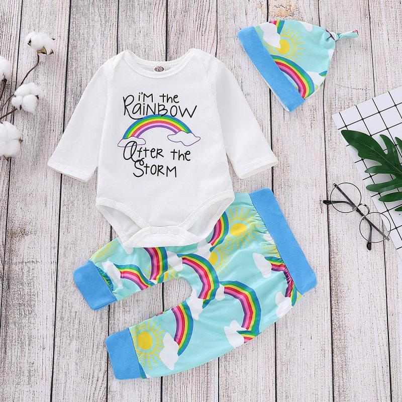 3-piece Baby Rompers Pants Sets Rainbow Print Cute Girls Suits With Hat - childbling