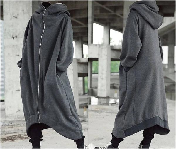 Unisex Long Sleeve Hooded Long Coat
