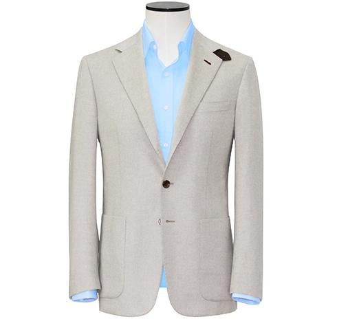 Slim-Fit Off White Pure Cashmere Blazer with Lapel Loop Detail