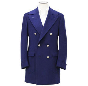Royal Blue Double-Breasted Pure Cashmere Overcoat